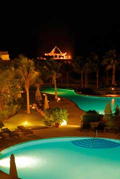 Spa and Pool at night Desire Pearl Resort Puerto Morelos